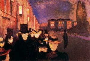Atardecer en el Paseo Kark Johann, de Munch