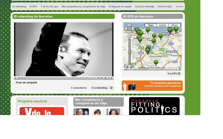 Detalle de la web de Juan José Ibarretxe en el final de la campaña electoral.